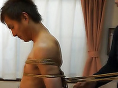 Japanese pencil gets tied around kinbaku style by gay amateurish