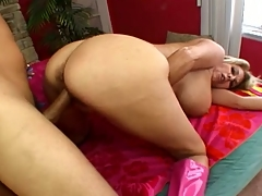 Fiery and busty blonde milf rides a firm bushwa