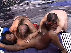 Black Girl sucking and bonking 2 little lifeguards